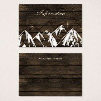 Barn wood Camping Mountains wedding details card