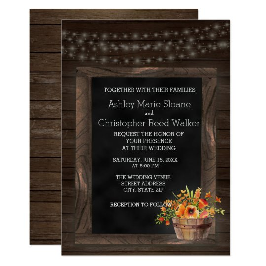 Barn Wood Chalkboard Floral Wedding Invitation