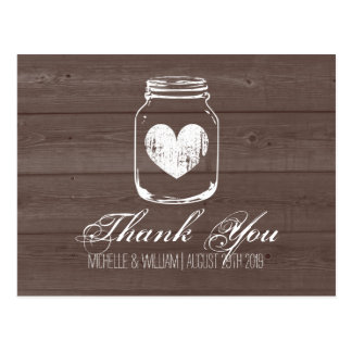 Barn wood country chic mason jar thank you cards postcard