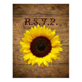 Barn wood Country cowboy Wedding response RSVP Postcard