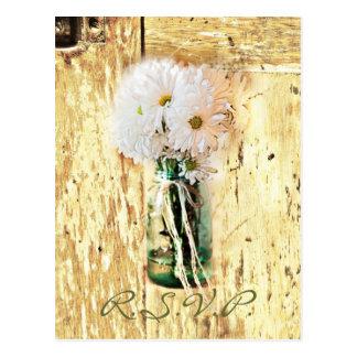 barn wood country daisy wedding response rsvp postcard