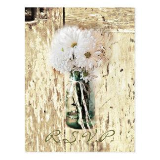 barn wood country daisy wedding RSVP response Postcard