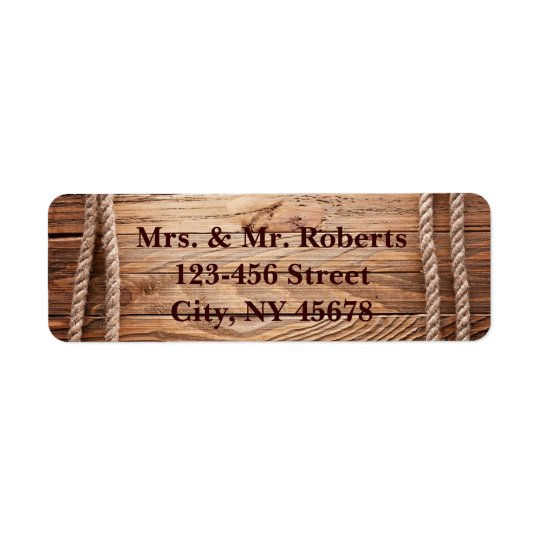 barn wood Cowboy Boots Western country Wedding Return Address Label