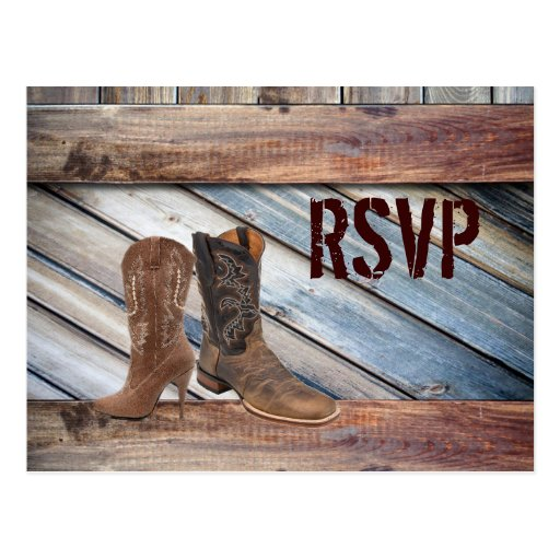 barn wood Cowboy Western country Wedding rsvp Post Card