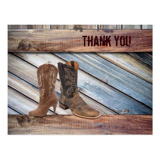barn wood Cowboy Western country Wedding thank you Post Card