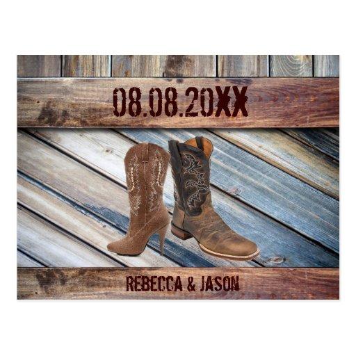 barn wood Cowboy Western  Wedding save the date Postcard