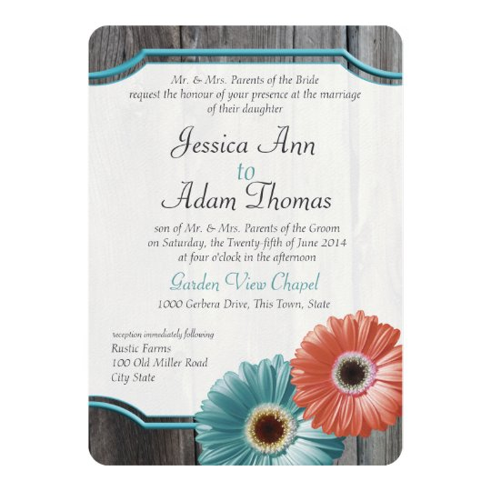 Barn Wood Daisy Coral and Aqua Card