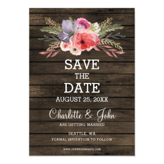 barn wood floral rustic country save the date magnetic invitations