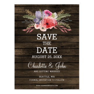 barn wood floral rustic country save the date postcard