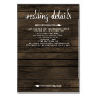 barn wood floral rustic wedding details card