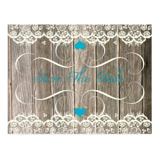 Barn Wood Lace Teal Hearts Swirls Save The Date Postcard