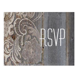 barn wood lace western country wedding RSVP Postcard