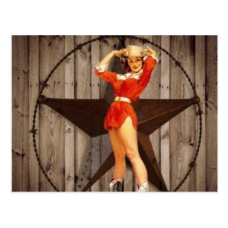 Barn wood Lone Star western country Cowgirl Postcard