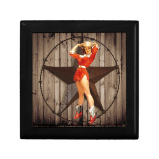 Barn wood Lone Star western country Cowgirl Small Square Gift Box