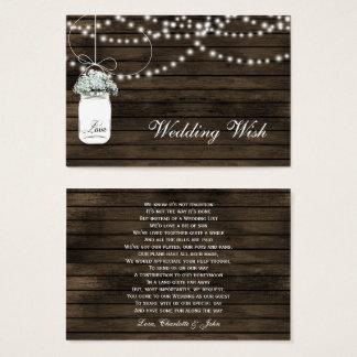 barn wood mason jar rustic wedding details card