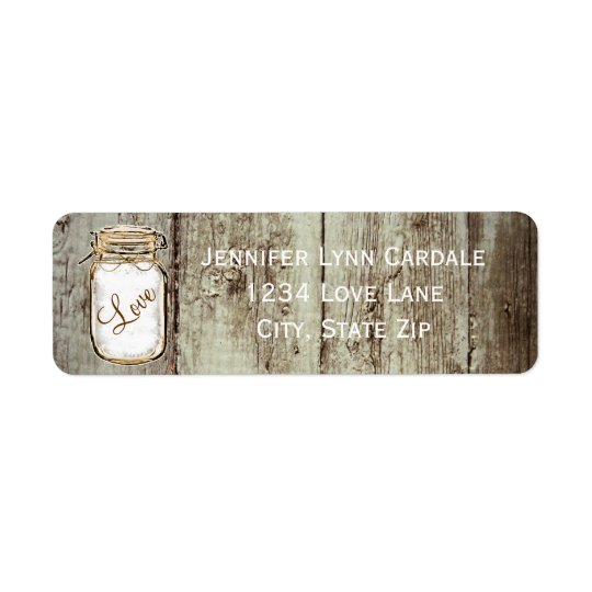 Barn Wood Mason Jar Wedding Return Address Labels