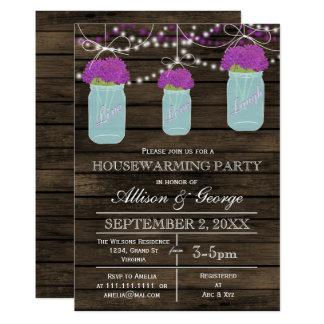 Barn wood mason jars rustic housewarming card