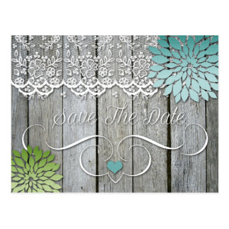 Barn Wood Modern Teal Green Petals Save The Date Post Card