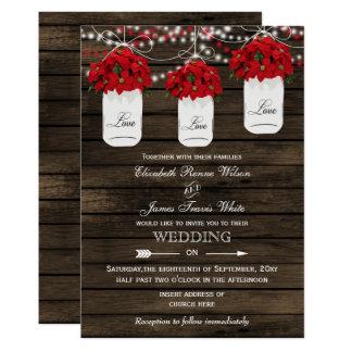 Barn wood poinsettias mason jar rustic wedding card