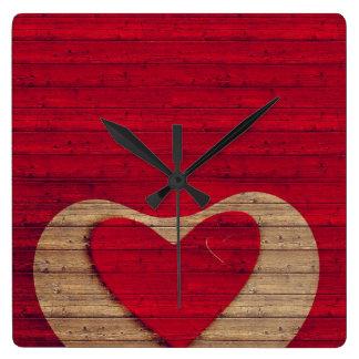 BARN WOOD - Red, Tan - CLOCK