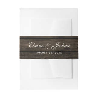 barn wood rustic country chic belly band invitation belly band