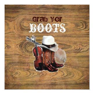 Barn wood Rustic Country cowboy Wedding Card