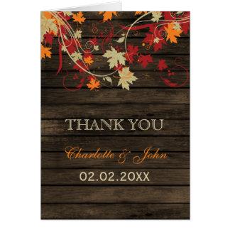 Barn Wood Rustic Fall Leaves Wedding Thank You Card