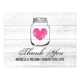 Barn wood rustic mason jar wedding thank you cards postcard