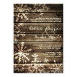 Barn Wood Snowflakes Rustic Winter Wedding 13 Cm X 18 Cm Invitation Card