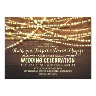 Barn wood string lights rustic wedding invitations