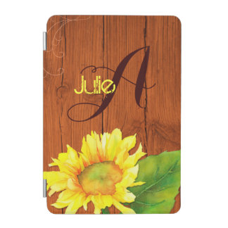 Barn Wood Sunflower Monogram Magnetic iPad Mini iPad Mini Cover