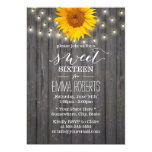 Barn Wood Sunflower & String Lights Sweet 16 13 Cm X 18 Cm Invitation Card