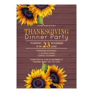 Barn wood sunflowers rustic thanksgiving party card