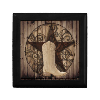 Barn Wood Texas Lone Star western country cowgirl Small Square Gift Box