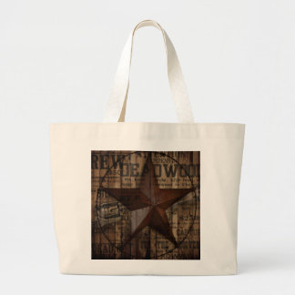 Barn Wood western country Texas Lone Star Large Tote Bag