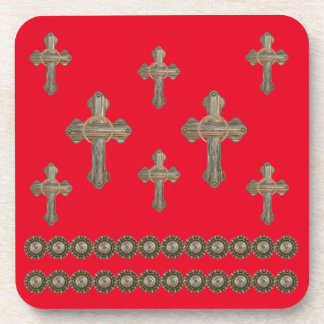 Barn Wood Western Crosses With Conchos Drink Coaster