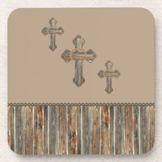 Barn Wood Western Crosses With Rope And Conchos Beverage Coasters