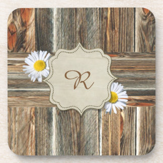 Barn Wood with Daisies Personalize Coasters