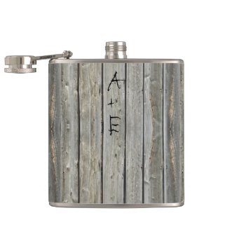 Barn Wood Your Initials Mr. Hipster Vintage Retro Hip Flask