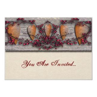 Barnboards Rusted Hearts 13 Cm X 18 Cm Invitation Card