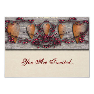 Barnboards Rusted Hearts 5x7 Paper Invitation Card