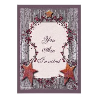 Barnboards Rusted Stars Personalized Invite