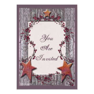 Barnboards Rusted Stars 5x7 Paper Invitation Card