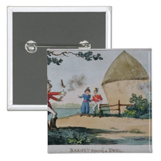 Barney fighting a duel 15 cm square badge