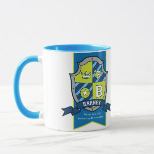 Barney letter B crest blue green name meaning mug