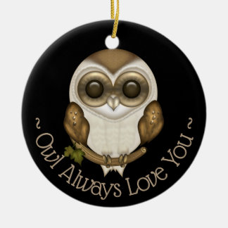 Barney The Cute Owl Ceramic Ornament