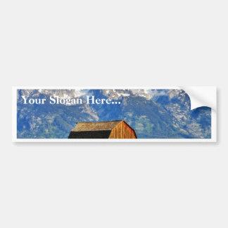 Barns Grand Tetons Mountains Bumper Sticker