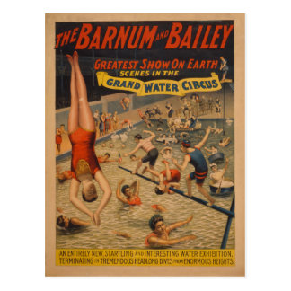 Barnum and Bailey Grand Water Circus Poster Postcard