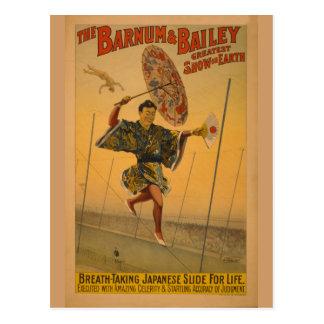 Barnum & Bailey Slide for Life Circus Poster Postcard