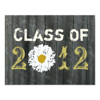 Barnwood and Daisy Graduation Class Of 2012 11 Cm X 14 Cm Invitation Card